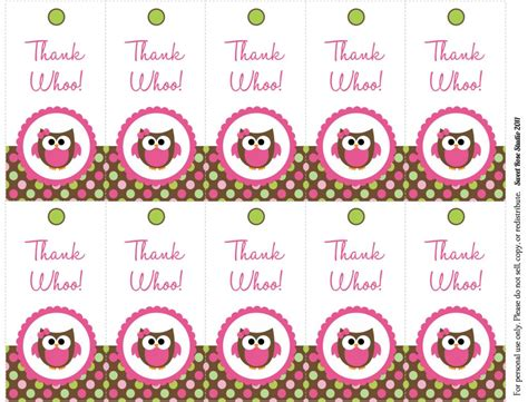 free printable owl tags 9 best images of birthday thank you labels printables