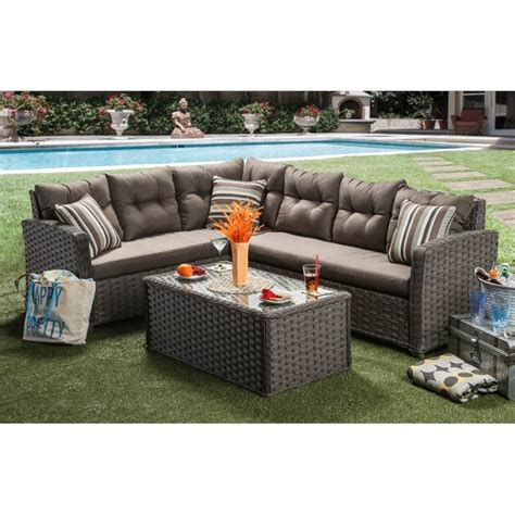 Furniture Of America Callen Patio Faux Rattan Sectional Faux Wicker Patio Furniture