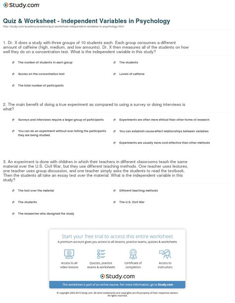 Independent And Dependent Variables Worksheet Middle School by Variable Worksheets For 8th Grade Science Independent