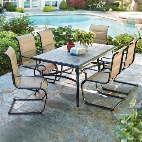 Patio Dining Furniture Sets Hton Bay Belleville 7 Padded Sling Outdoor Dining Set Fcs80198cst The Home Depot