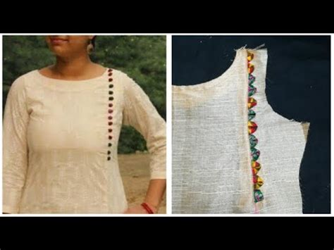 kurta neck designs cutting  stitching simple craft ideas