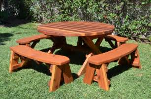 Plans To Build A Octagon Picnic Table by Round Wood Picnic Table With Wheels Forever Redwood