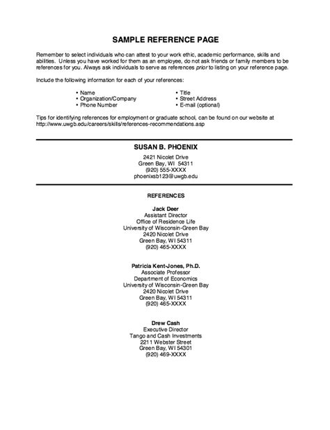 reference page resume template resume exles with references