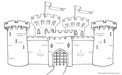 castle drawing template castle colouring page