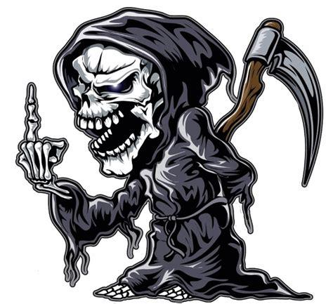 Aufkleber Totenkopf Schwarz by Aufkleber Reaper Totenkopf Sensemann Zeigt Finger Skull