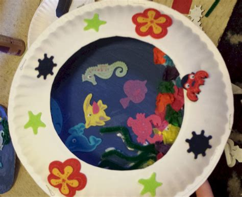 how to make paper plate crafts paper plate seascape