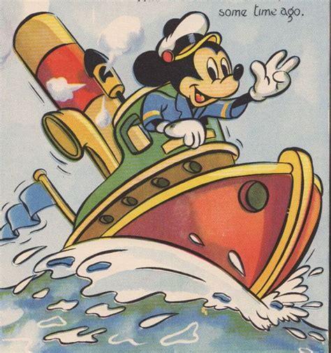 mickey mouse boat mickey mouse the tug boat captain 1940s walt disney print