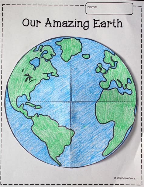 earth template printable freebie school pinterest