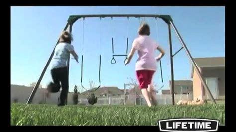 swing free episodes lifetime 290038 heavy duty three station metal swing set