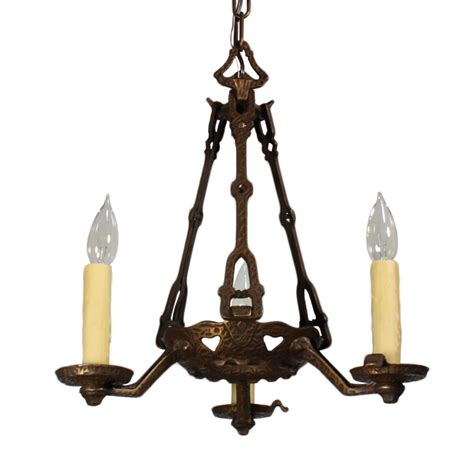 Chandelier Iron Handsome Antique Three Light Cast Iron Chandelier With Hammered Finish Early 1900s Nc1555 Rw