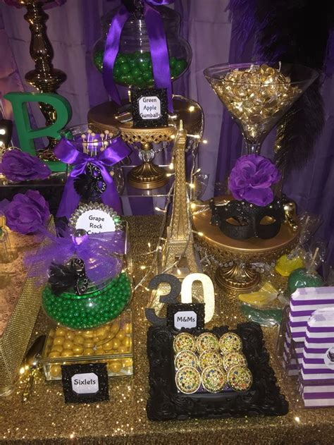 black and gold buffet ls birthday masquerade party candy buffet in purple green