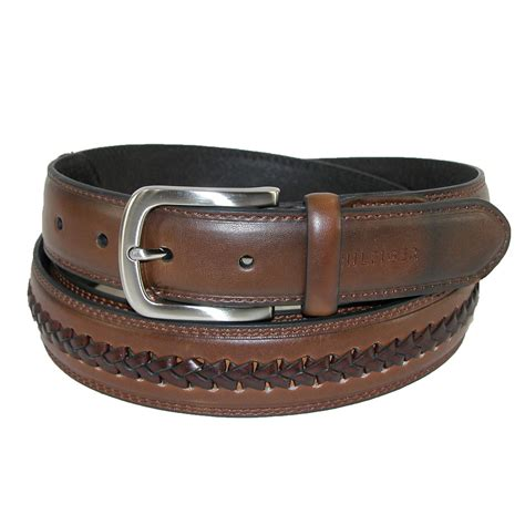 mens leather belt with center lace by hilfiger