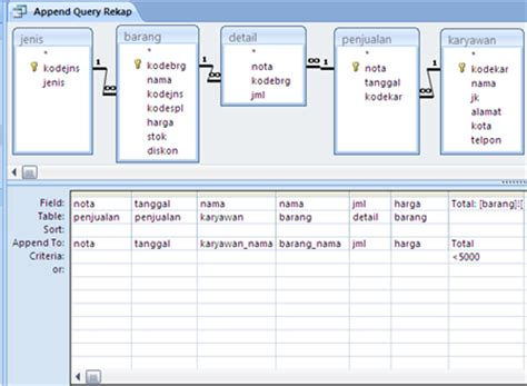 membuat query access 2007 membuat append query pada access 2007