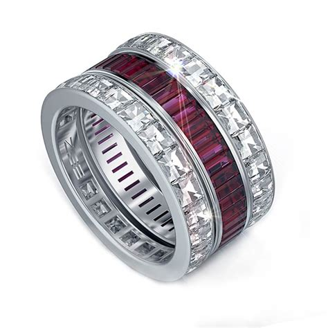 ruby and blaze channel set wedding bands