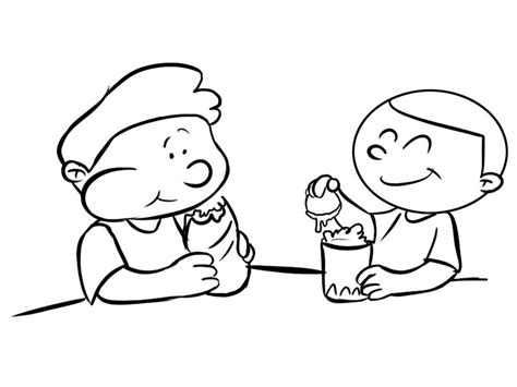 dibujos de nios peleando para colorear ni 241 os merendando dibujos para colorear