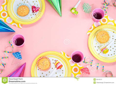 layout for birthday party girl birthday or party pink table setting stock image