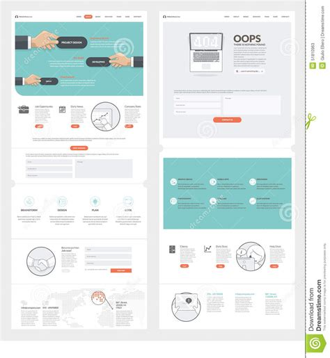 company portfolio template free two page website design template with concept icons and
