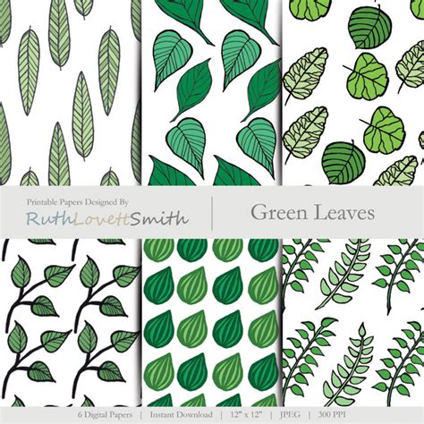 printable green leaves green leaves digital paper ruth lovettsmith