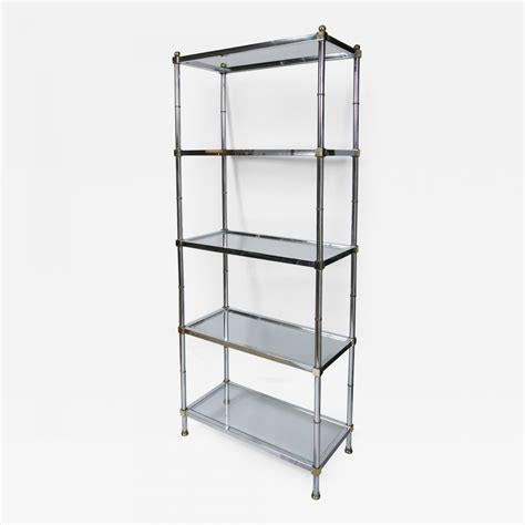 Etagere 60x60 by 100 Jansen Style Pair Of Steel Vintage Sofa Tables From