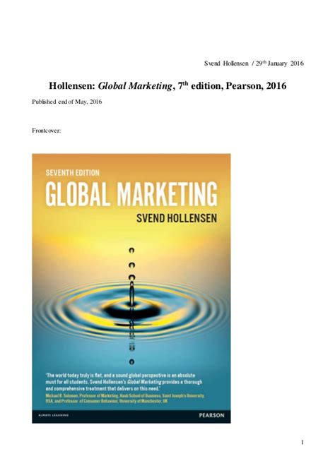 Global Marketing 7ed 1 hollensen gm 7e what is new in the new edition january 2016