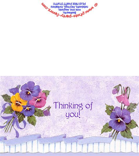 thinking of you card templates for word free printable pansies thinking of you card from