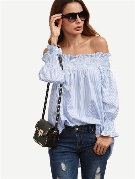 Smock Shoulder Blouse blue striped the shoulder ruffled sleeve smock