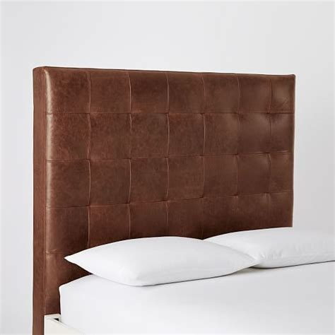 leather headboard beds tall leather grid tufted headboard west elm