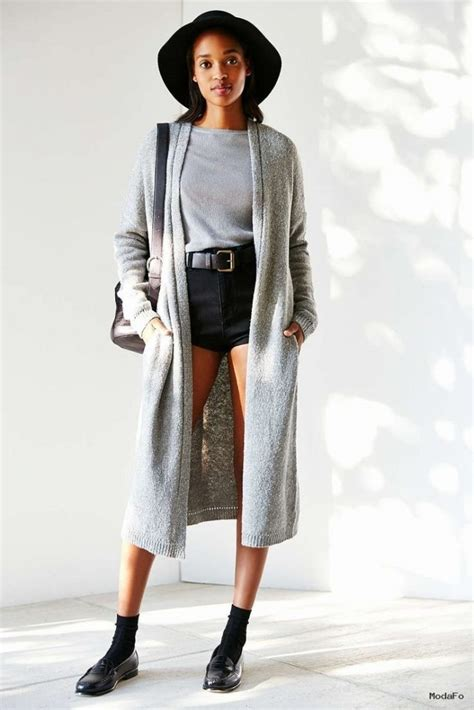 Kaos Combi Black Grey 2016 kış modası uzun hırka kombinleri modafo