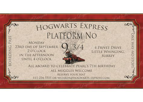 Harry Potter Place Cards Template by Hogwarts Harry Potter Birthday Invitation Printable