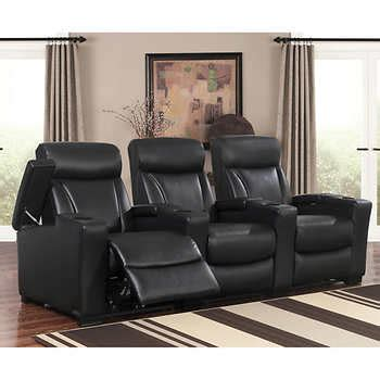 Leather Media Recliners by Romano 3 Top Grain Leather Power Media Recliners Black