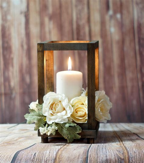 Reclaimed Wood Candle Lantern Centerpiece, Rustic Wedding