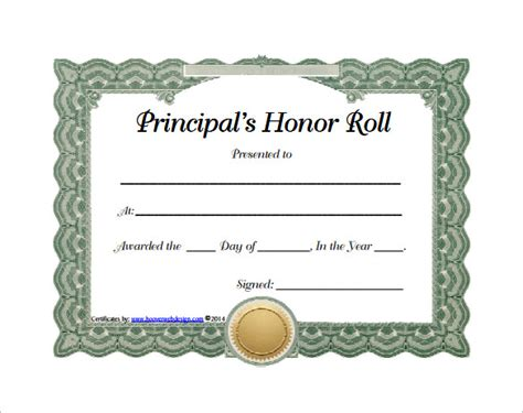 honor certificate template 9 printable honor roll certificate templates free word