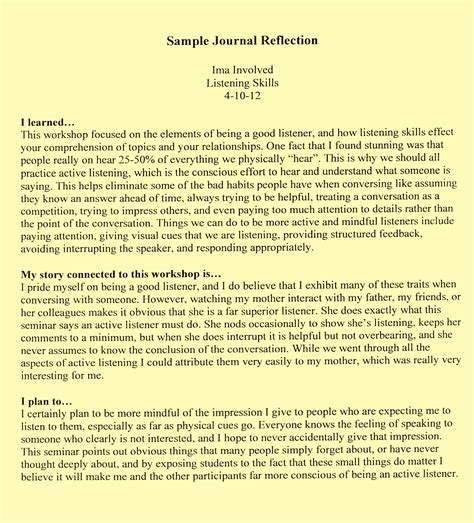 Is A Way To Start Writing A Reflective Essay by Reflection Essay Outline