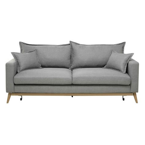 divano 3 posti letto divano letto 3 posti in tessuto grigio chiaro duke