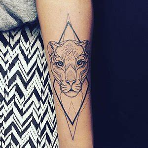 geometric lioness forearm tattoo design for women custom