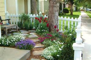 Small Cottage Garden Ideas Cottage Garden Small Front Yard With Picket Fence Corner Tree Flagstone Path Garden Ideas