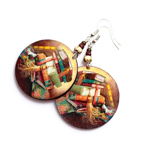 Decoupage Earrings - book earrings decoupage brown faced on luulla