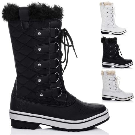 womens lace up flat winter snow boots sz 3 8