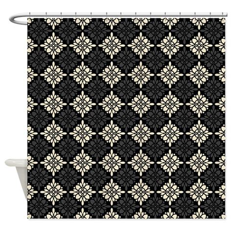 cream and black shower curtain black and cream floral diamonds shower curtain by nicholsco