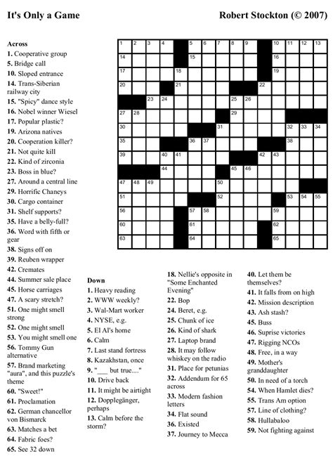 printable free online crossword puzzles 8 best images of free online crossword puzzles printable