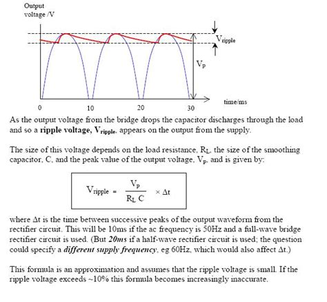 rectifier filter capacitor calculator wave bridge rectifier with capacitor filter and ripple voltage electrical engineering