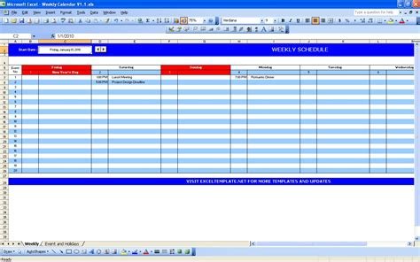Activity Calendar Template Excel excel templates excel spreadsheets weekly calendar