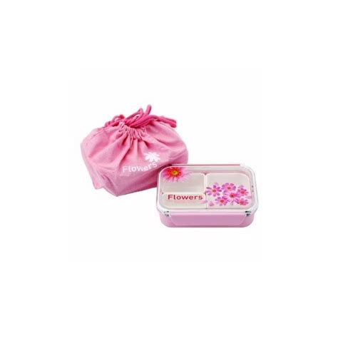 Paper Lunch Box Small Paper Box Bento Small Box Bekal 3 sections flat food storage bento lunch box with bag pink