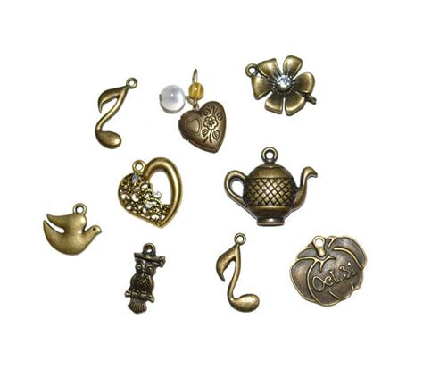 inexpensive jewelry supplies assorted brass charms discount lot of charms supplies jewelry