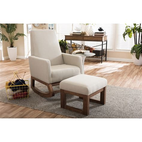 upholstered rocking chair and ottoman baxton studio yashiya mid century retro modern light beige
