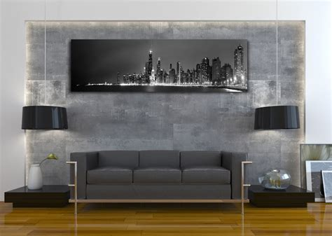 Home Decor Chicago by Chicago Skyline Black White Panoramic Picture Canvas