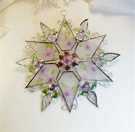 stained glass star holiday ornament gift for her gift for