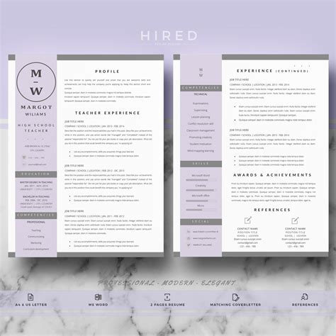 teacher resume template for ms word quot margot quot hired