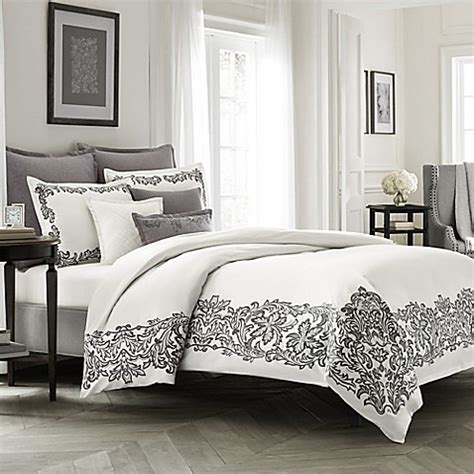 Bedcover 180160 Italy wamsutta 174 collection luxury italian made alisa duvet cover in white grey bed bath beyond