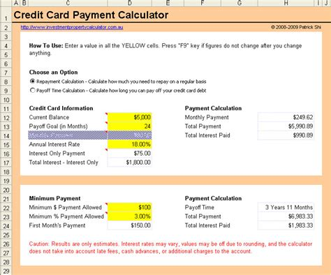 Excel Template Credit Card Payoff Credit Card Payment Calculator Credit Card Payoff